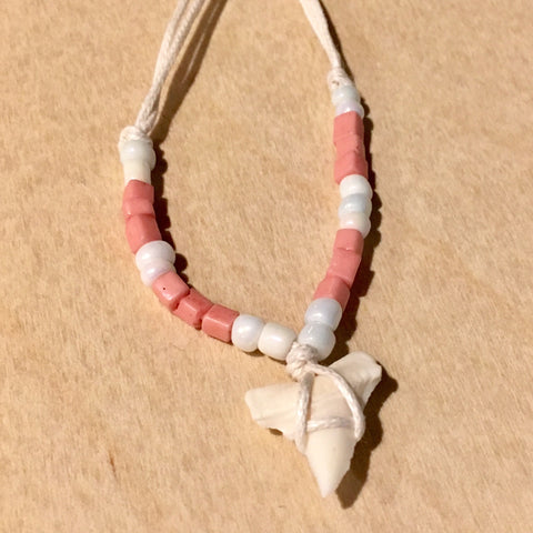 Shark Tooth Pastel Bead Necklace