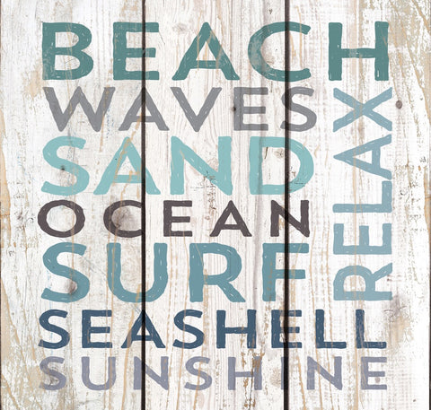 Beach Waves Sand Plank Sign