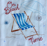 Beach Time Stitched Sequin Towel