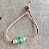 Seaglass & Pearls Leather Bracelet