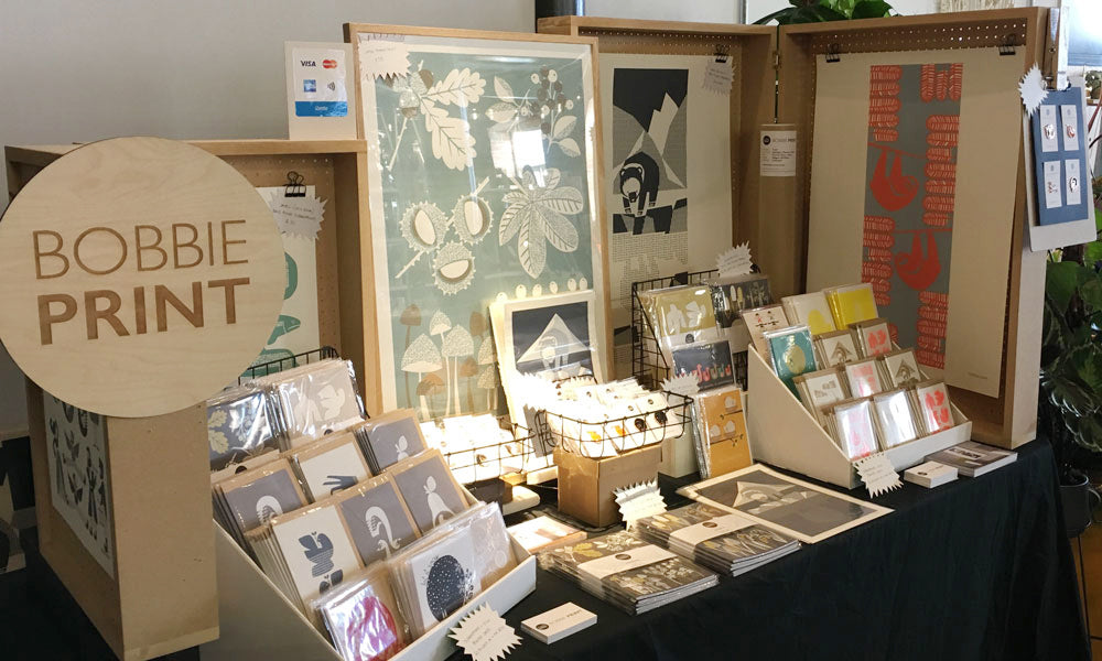 Bobbie Print Christmas stall at the Hepworth Wakefield Christmas Market 2017