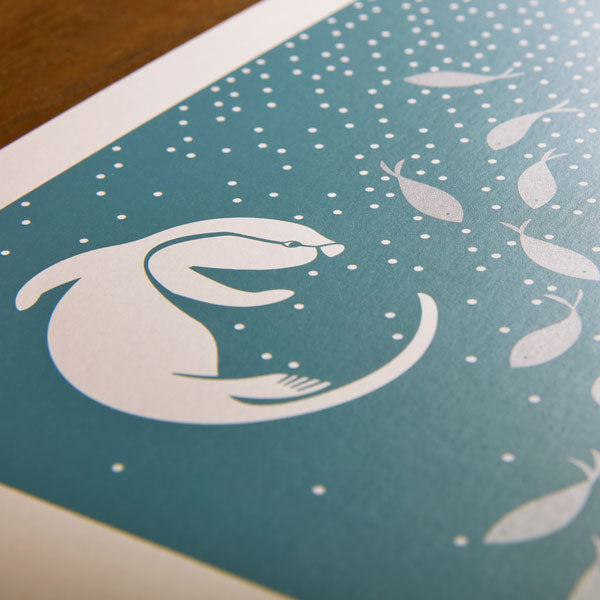 Little Otters Metallic Print