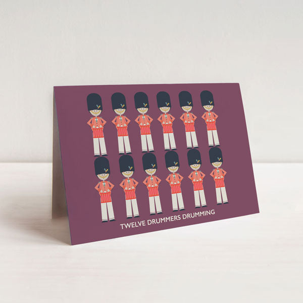 Twelve Drummers Drumming Christmas Card