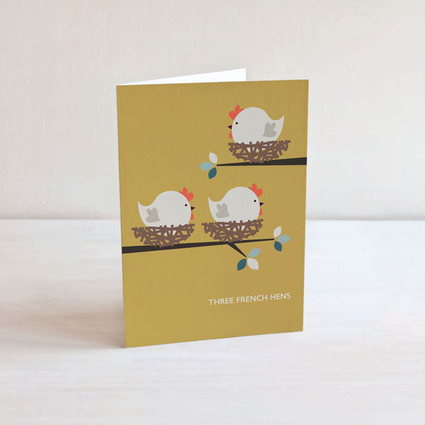 Three French Hens Christmas Card