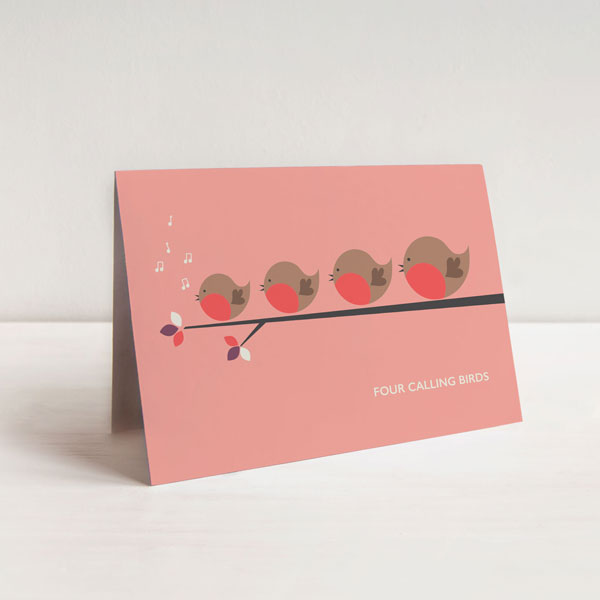 Four Calling Birds Christmas Card