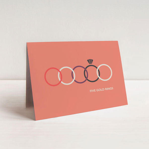 Five Gold Rings Christmas Card