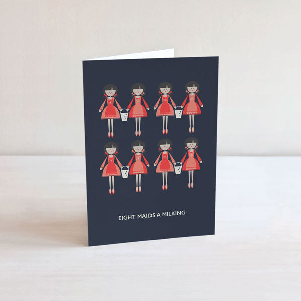 Eight Maids a Milking Christmas Card