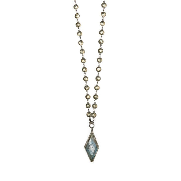 Labradorite Kite Necklace with Diamonds