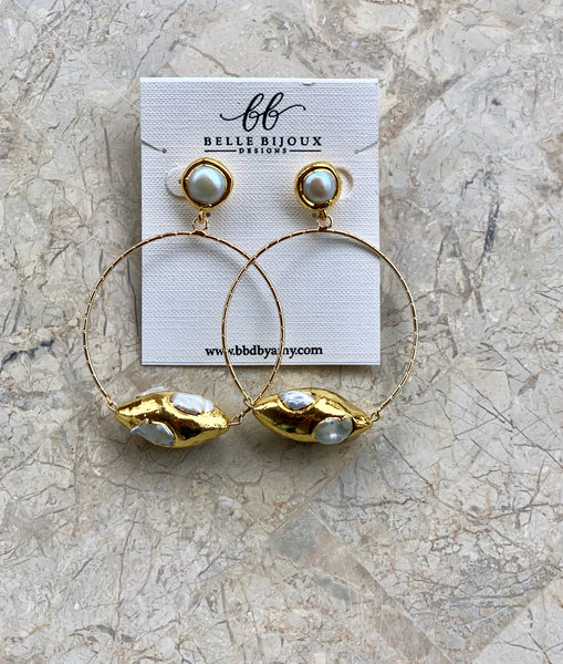 Bella Pearl Hoops