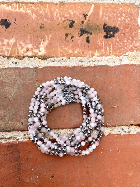 Silver Hematite & Rose Million Dollar Wrap