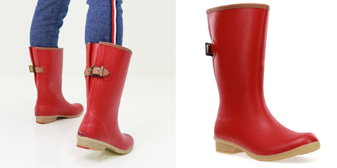 BAINBRIDGE ADJUSTABLE MID RAIN BOOT - RED WOMEN'S WATERPROOF