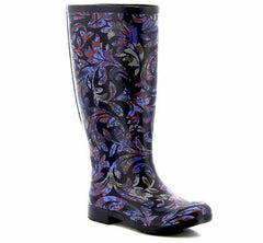 Wide calf printed rain boot for women with vibrant brocade pattern and black trim.