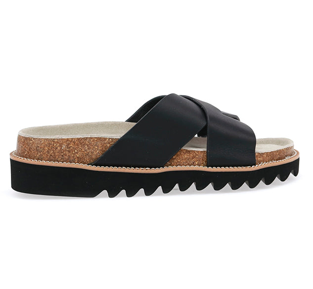 Product display of womens black sandals with two leather criss-crossing straps, cork sidewall, and thick black outsole.