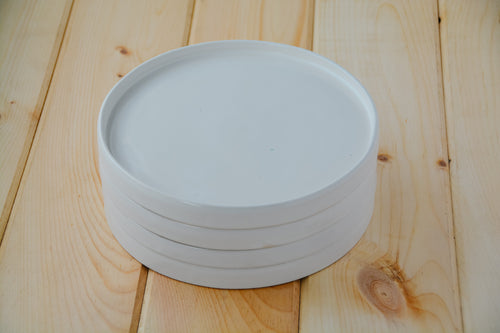 White Dinner Plates - Set of Four - Miller & Co. Wood Studio