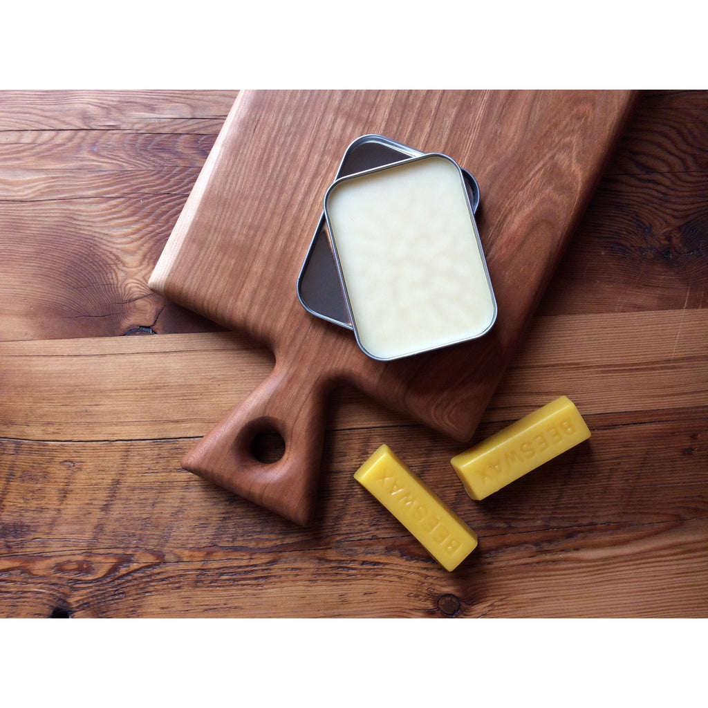 Wood conditioning paste, helps to protect and restore wood wares. Plant based + food safe.
