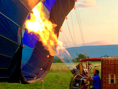 Pilot Firing Up the Hot Air Balloon Over Roussillon France