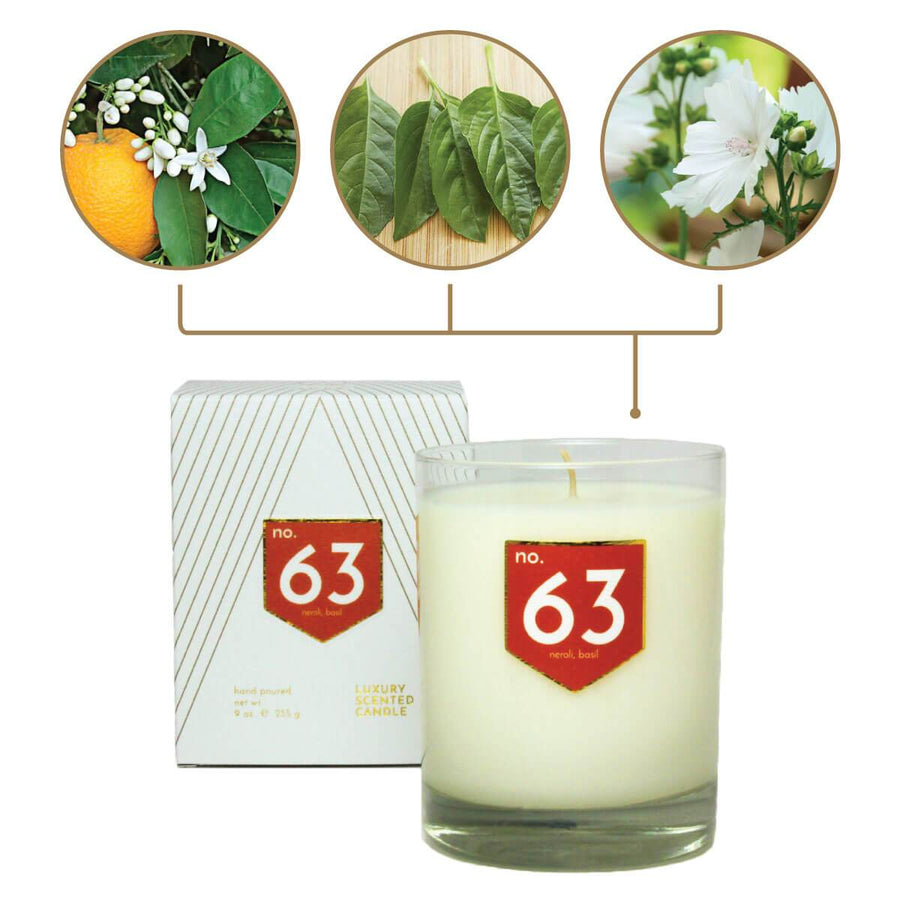 No. 63 Neroli Basil Scented Soy Candle - A C D C