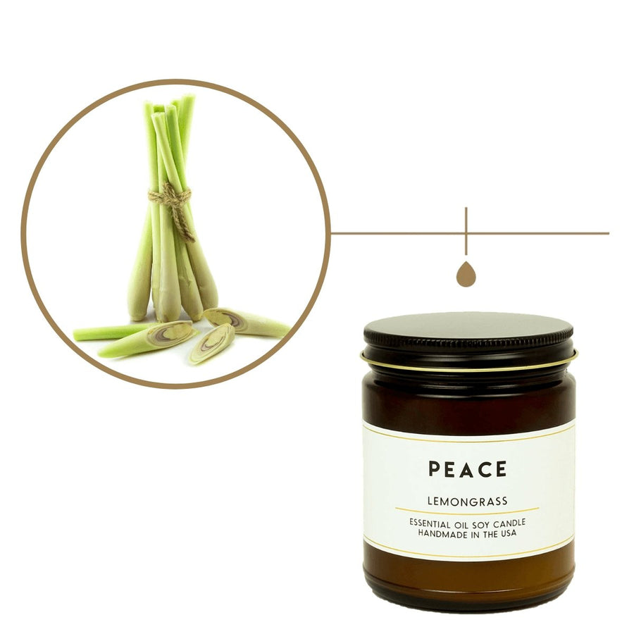 Peace Lemongrass Essential Oil Aromatherapy Candle - ACDC Co
