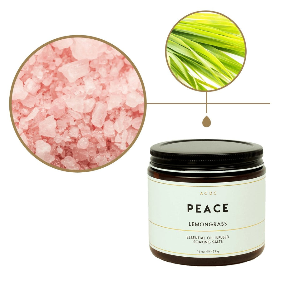 Peace Lemongrass Essential Oil Bath Soaking Salts - ACDC Co