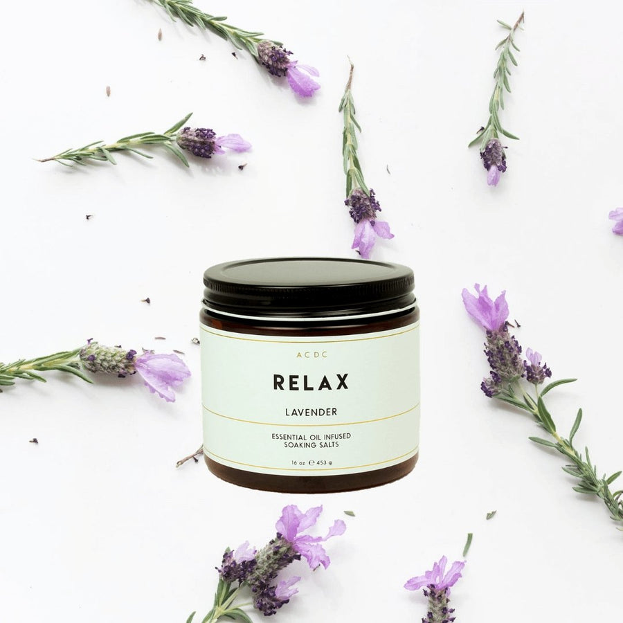 Relax Lavender Essential Oil Bath Soaking Salts - A C D C