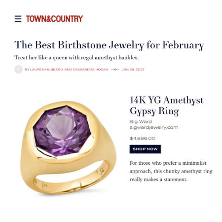 Sig Ward Jewelry as featured in Town & Country Magazine