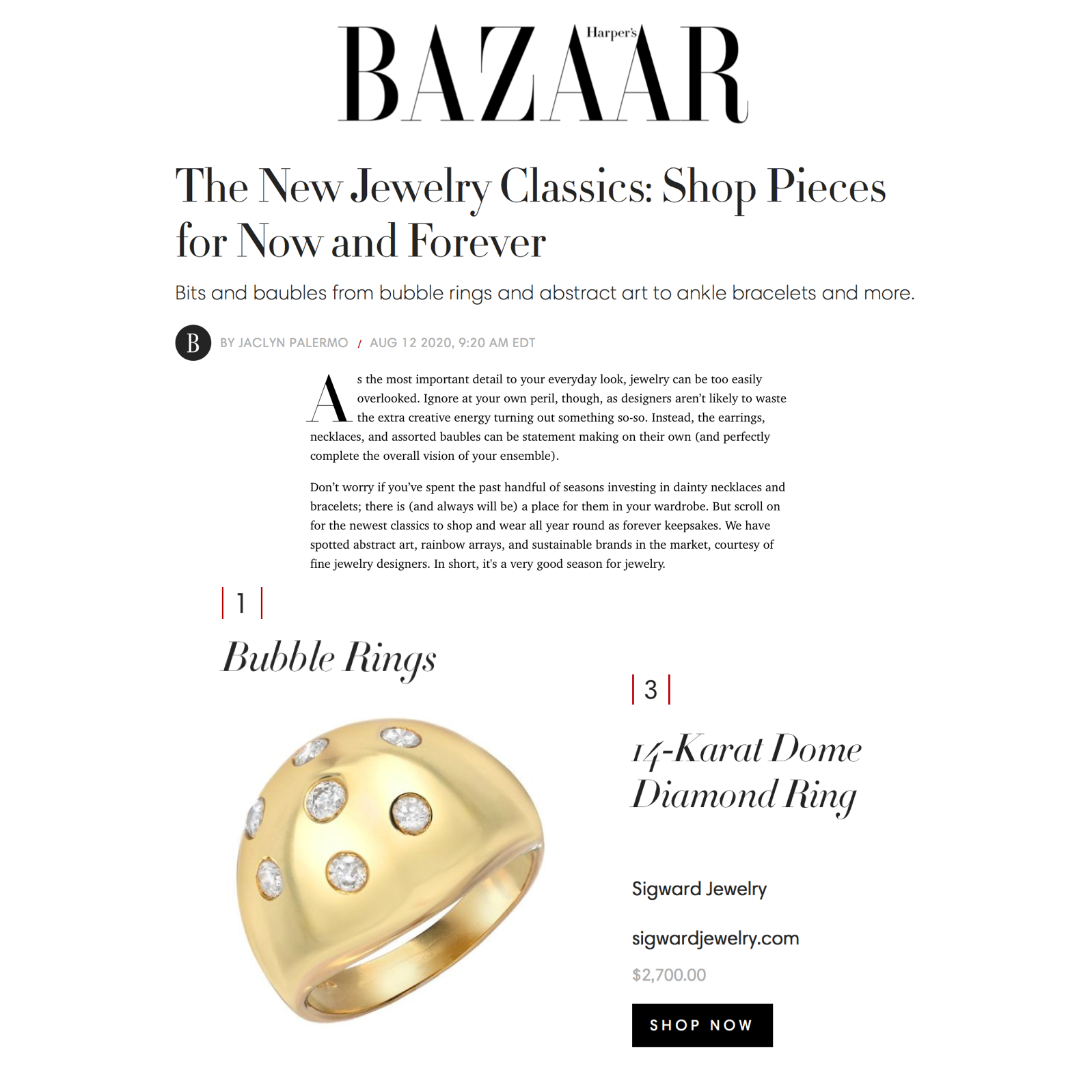 Sig Ward Jewelry as featured on Harper's Bazaar US