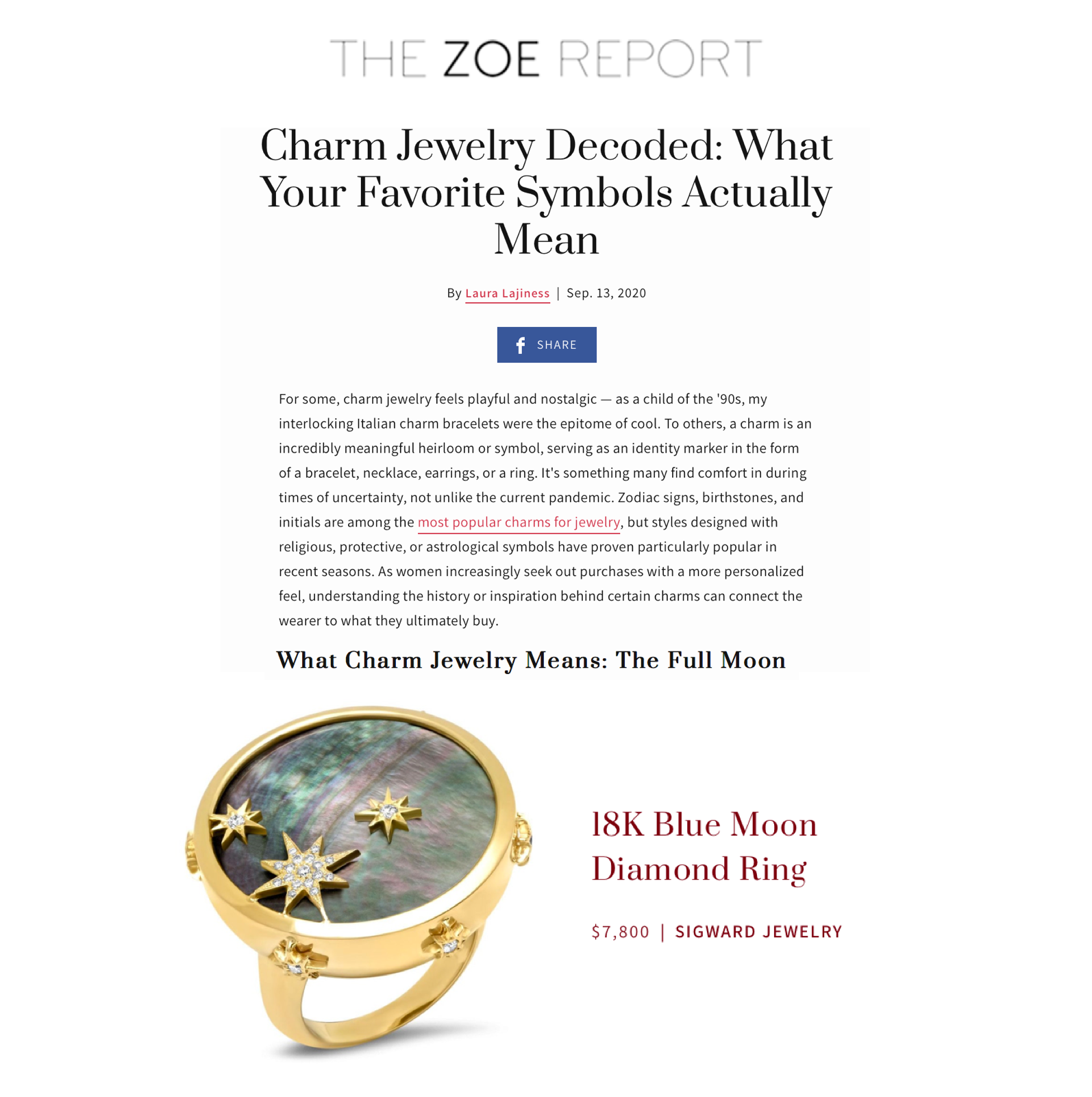 Sig Ward Jewelry as featured on The Zoe Report