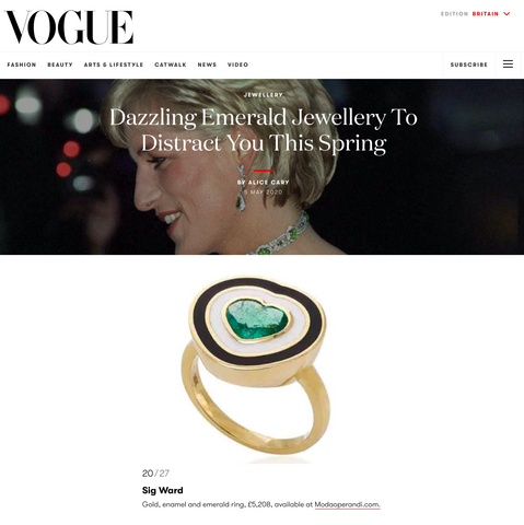 Sig Ward Jewelry as featured on British Vogue