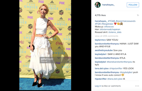 Hana Hayes wearing Sig Ward Jewelry at the Teen Choice Awards 2015