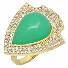 18K Chrysoprase Shield Diamond ring