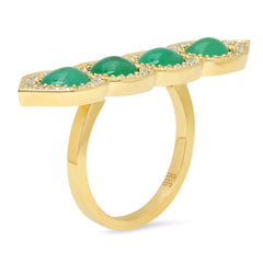 18K YG Emerald Deco Diamond Ring