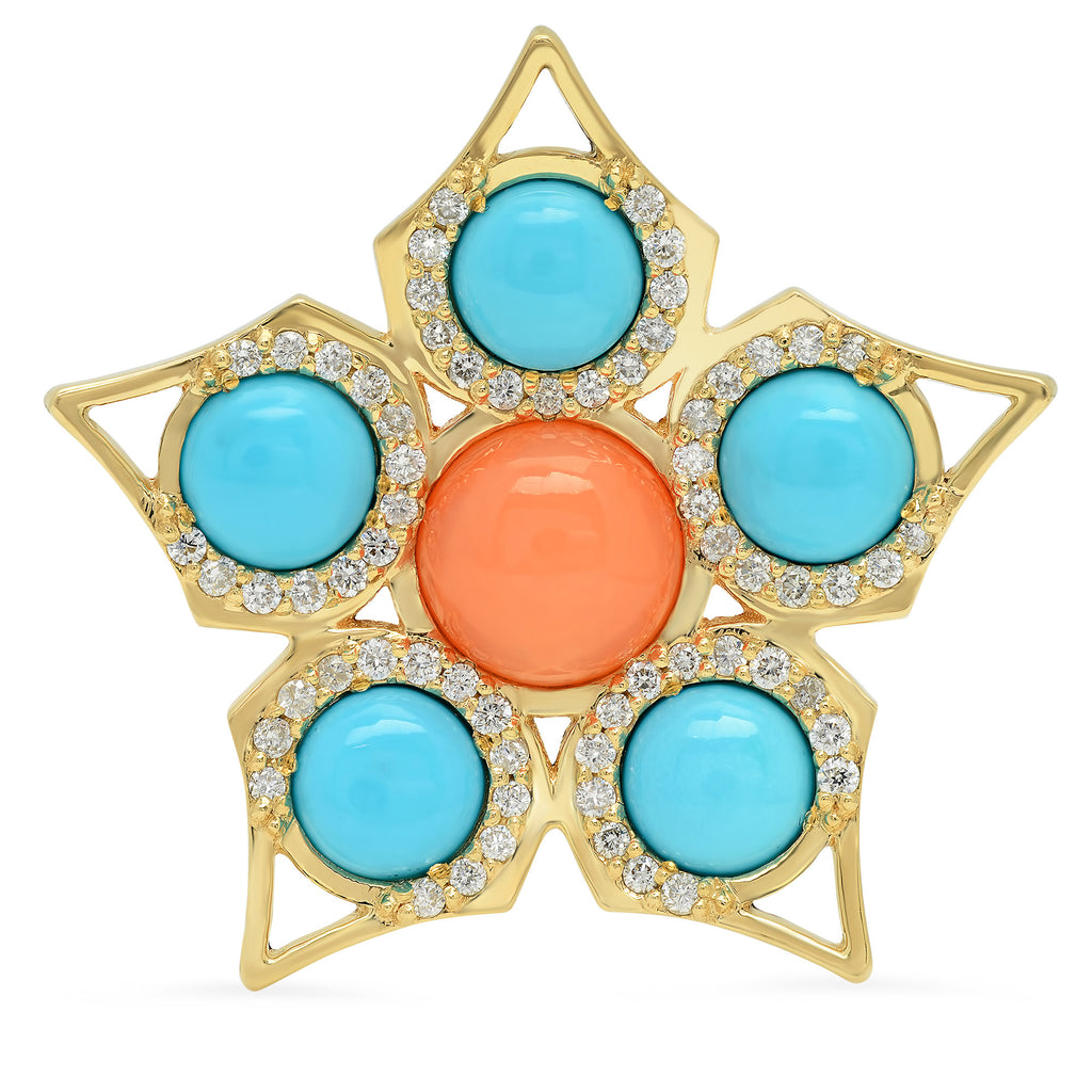 14K YG Coral and Turquoise Diamond Ring
