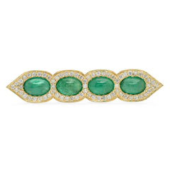 14K YG Emerald Deco Diamond Ring