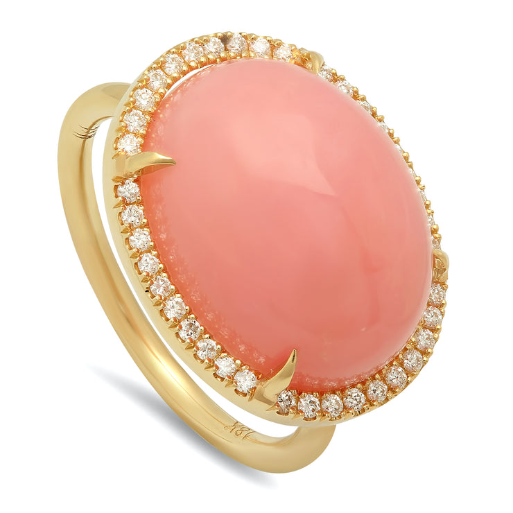 18K YG Pink Opal Diamond Ring