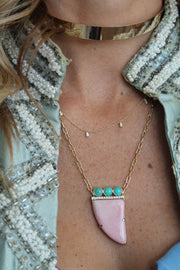 14K YG Pink Opal and Amazonite diamond necklace