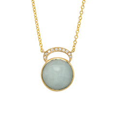 14K YG Aquamarine Diamond Necklace