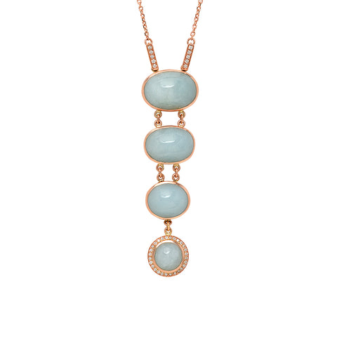 14K RG Aquamarine and Diamond Necklace