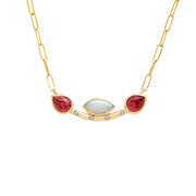 14K YG Opal and Tourmaline diamond necklace