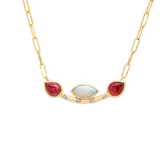 14K YG Josie Opal and Tourmaline diamond necklace
