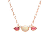 14K Opal and Tourmaline diamond necklace