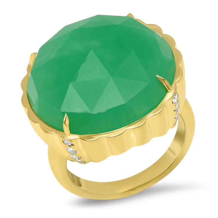 18K Chrysoprase Candy Button Diamond Ring