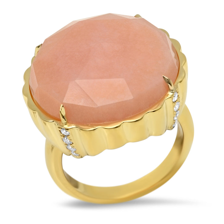 18K Pink Opal Candy Button Diamond Ring