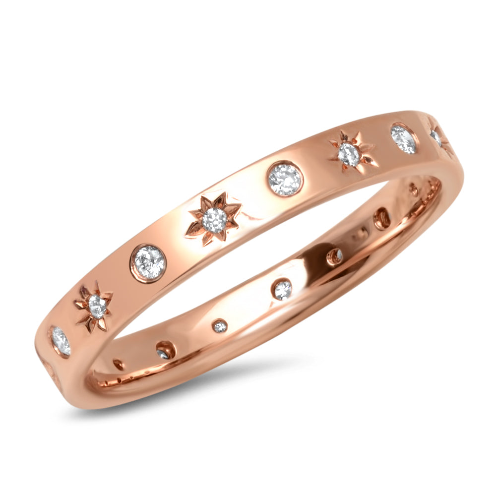 14K Starbust Diamond Band