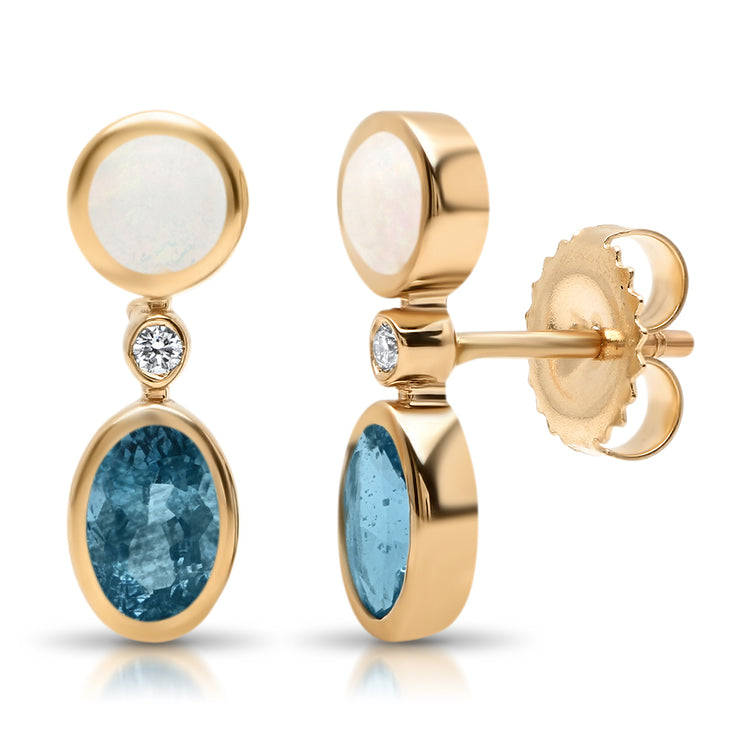 14K RG Opal and Topaz Diamond Earrings