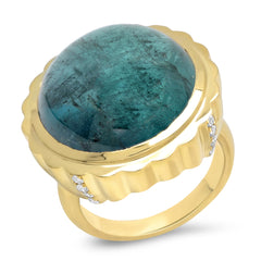18K YG Aquamarine Candy Button Diamond Ring