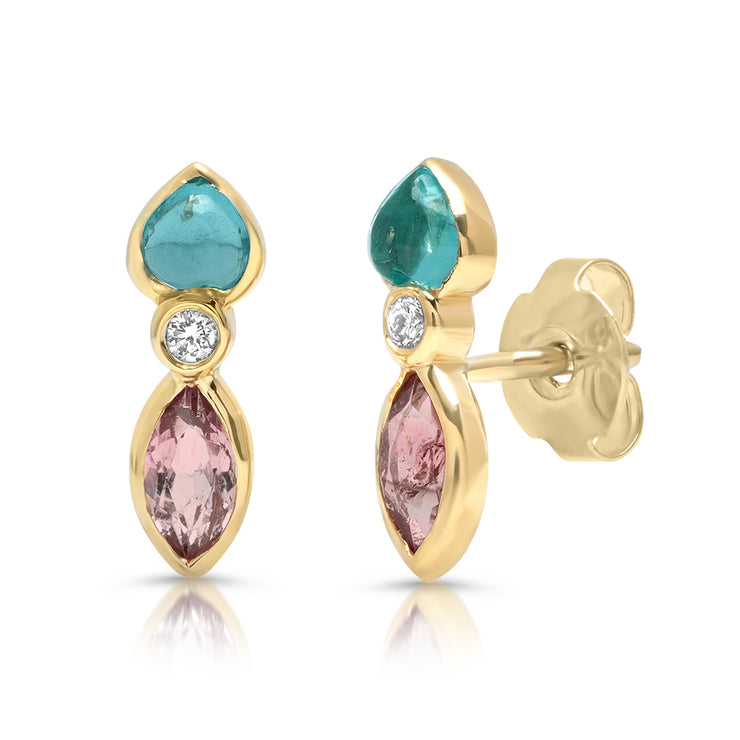 14K YG Topaz and Tourmaline Diamond Earrings