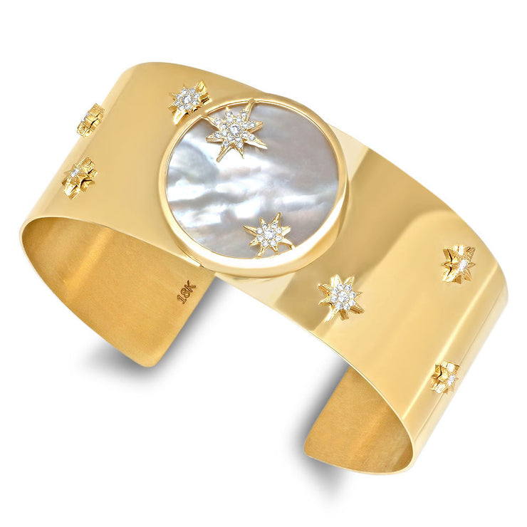 18K Soleil Gold and Diamond Stars Cuff
