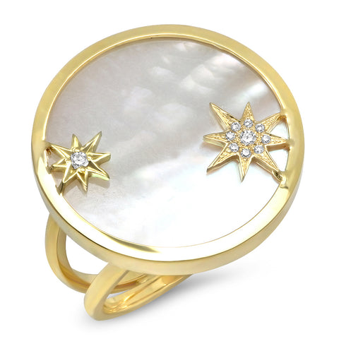18K YG Shooting Star Diamond Ring