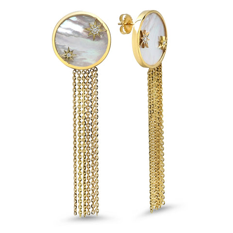 18K YG Double Moon Tassel Diamond Earrings