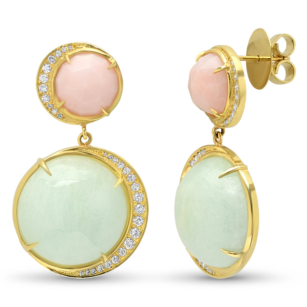 18K YG Pink Opal and Aquamarine Diamond Earrings